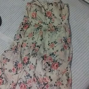 Floral romper with attached open skirt